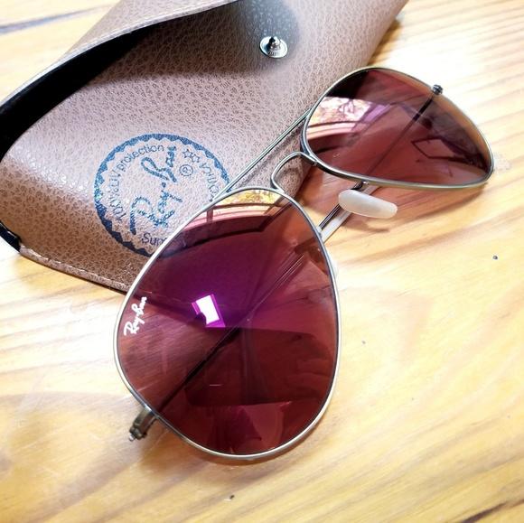 45c1ff6a52 Ray-Ban Aviator Red Mirror Flash Lenses Sunglasses.  M 5ae61c3c3afbbd2deb993ab4